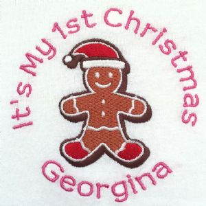 Personalised Babies Bib - It's my 1st Christmas Gingerbread Man